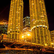 Chicago Marina City Towers At Night Picture Poster