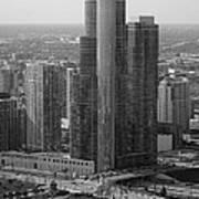 Chicago Modern Skyscraper Black And White Poster