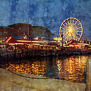 Chicago Navy Pier At Night Poster