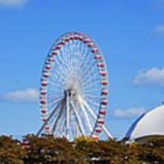 Chicago Navy Pier Ferris Wheel Poster by Christine Till