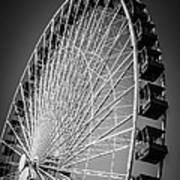 Chicago Navy Pier Ferris Wheel In Black And White Poster