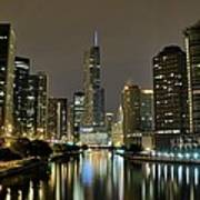 Chicago Night River View Poster