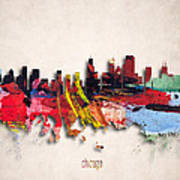 Chicago Painted City Skyline Poster