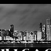 Chicago Panorama At Night Poster