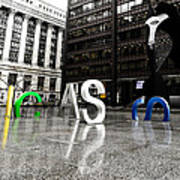 Chicago Picasso In The Rain Poster
