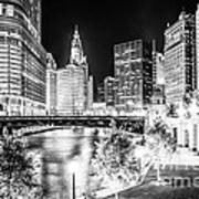 Chicago River Buildings At Night In Black And White Poster by Paul Velgos
