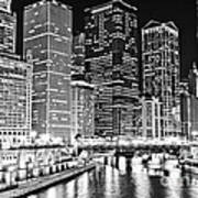 Chicago River Skyline At Night Black And White Picture Poster