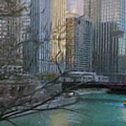 Chicago River Sunset Poster