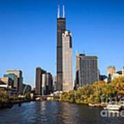 Chicago River With Willis-sears Tower Poster