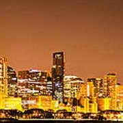 Chicago Skyine At Night Panoramic Photo Poster