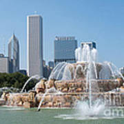 Chicago Skyline And Fountain Poster