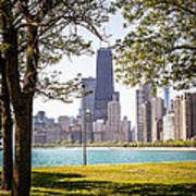 Chicago Skyline And Hancock Building Through Trees Poster