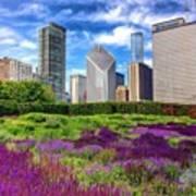 Chicago Skyline At Lurie Garden Poster