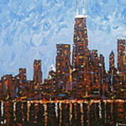 Chicago Skyline At Night From North Avenue Pier Poster