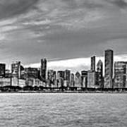 Chicago Skyline Black And White Poster