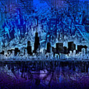 Chicago Skyline Blue Version Poster
