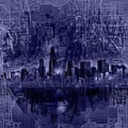 Chicago Skyline Blueprint Poster