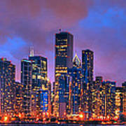 Chicago Skyline From Navy Pier View 2 Poster