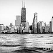 Chicago Skyline Hancock Building Black And White Photo Poster