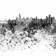 Chicago Skyline In Black Watercolor On White Background Poster