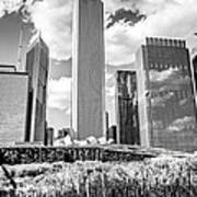 Chicago Skyline Lurie Garden Black And White Picture Poster