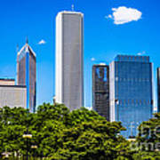 Chicago Skyline With Grant Park Trees Poster