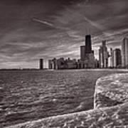 Chicago Sunrise Bw Poster