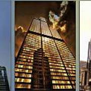 Chicago Tall Shoulders Trump Sears 333 W Wacker Triptych 3 Panel 01 Poster