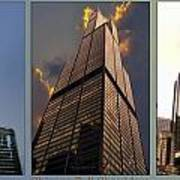 Chicago Tall Shoulders Trump Sears 333 Wacker Triptych 3 Panel 03 Poster