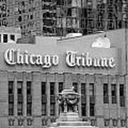 Chicago Tribune Facade Signage Bw Poster