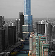 Chicago Trump Tower Blue Selective Coloring Poster