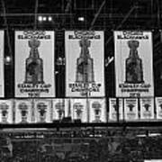 Chicago United Center Banners Bw Poster