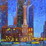 Chicago Water Tower At Night Poster