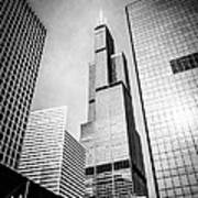 Chicago Willis-sears Tower In Black And White Poster by Paul Velgos