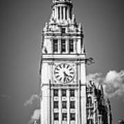 Chicago Wrigley Building Clock Black And White Picture Poster