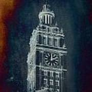 Chicago Wrigley Clock Tower Textured Poster