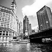 Chicago Wrigley Tribune Equitable Buildings Black And White Phot Poster