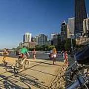 Chicago's Lakefront Bike Path On A Summer Evening Poster