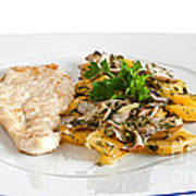 Chicken Escalope With Potatoes And Mushroom Poster