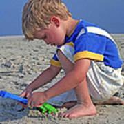 Childhood Beach Play Poster