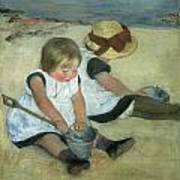 Children At The Seashore Poster by Mary Cassatt