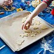Children Baking Christmas Cookies Poster