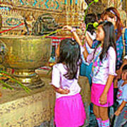 Children Bring Lotus Flowers To Royal Temple At Grand Palace Of Thailand Poster