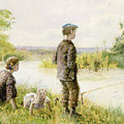 Children Fishing By A Stream Poster