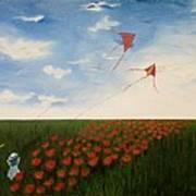 Children Flying Kites Poster by Rejeena Niaz