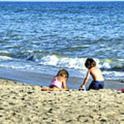 Children Playing On Beach Poster