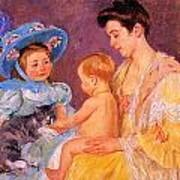 Children Playing With A Cat Poster by Marry Cassatt
