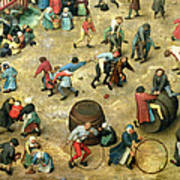 Childrens Games Kinderspiele Detail Of Bottom Section Showing Various Games, 1560 Oil On Panel Poster