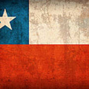 Chile Flag Vintage Distressed Finish Poster