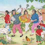 China  Women On A Communal  Farm Form Poster